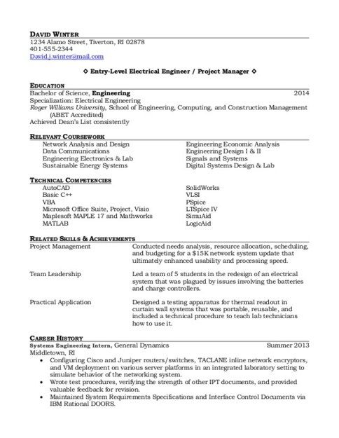 entry level project manager resume samples