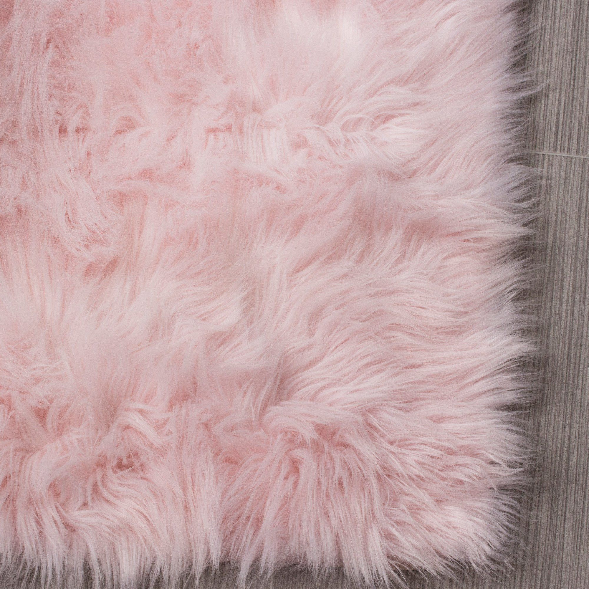 Pink Faux Sheepskin Rug Free Shipping Lowest Price Guarantee