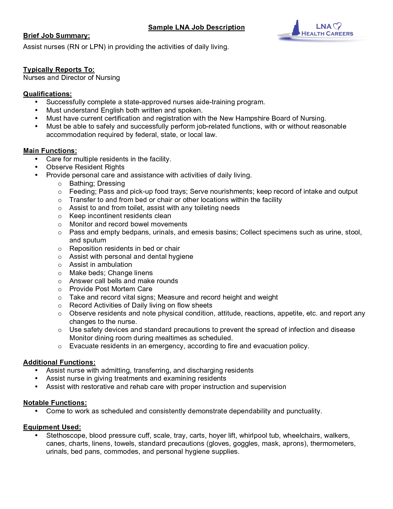Server Job Resume Description Sample With Professional Servers For Waitress  Experience  Cna Duties For Resume