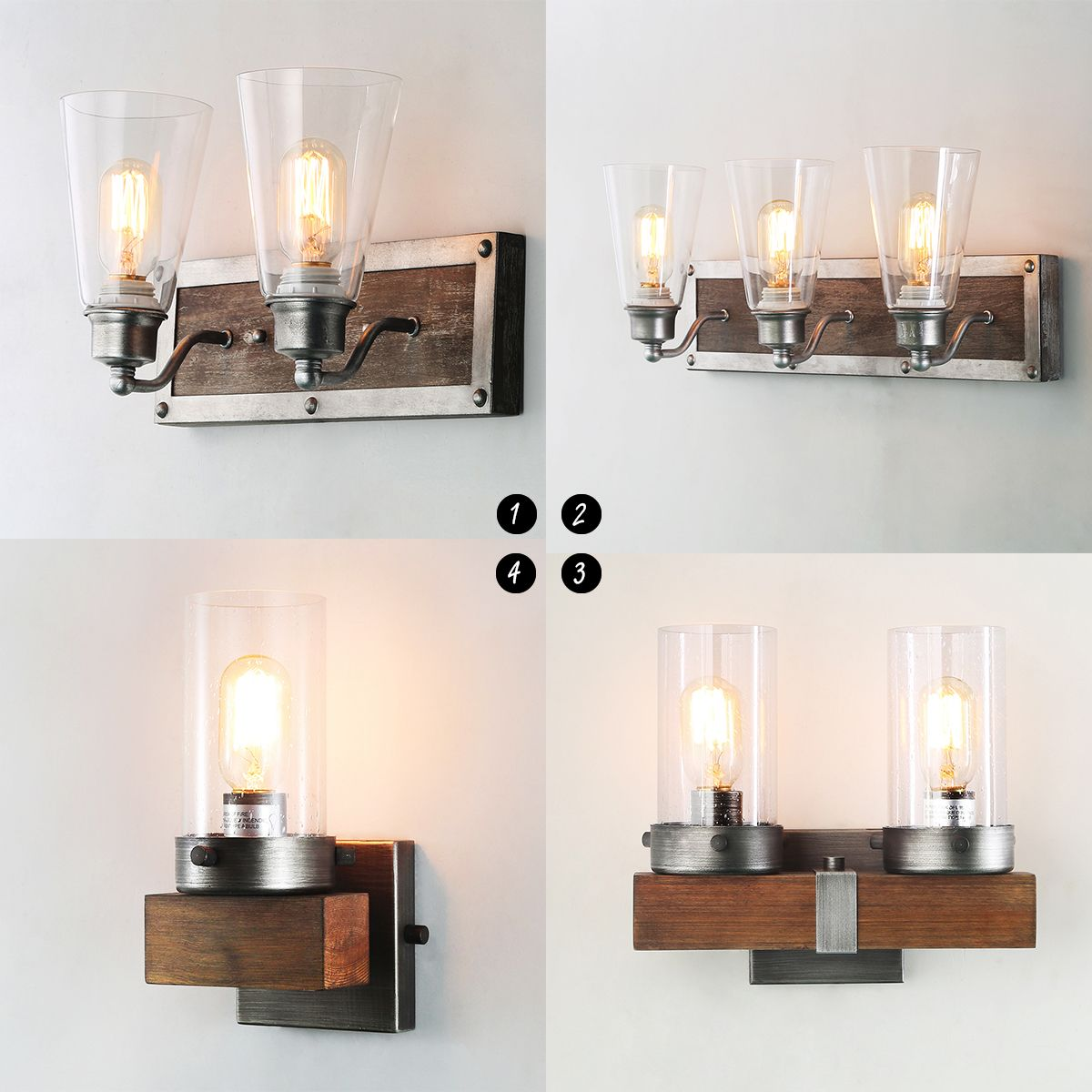 Wood Wall Sconces Indoor Wall Lamps Glass Wall Light Rustic Glass Lampshade Natural Wood Frame Pure Rustic Style Wall Sconces Sconces Sconces Indoor