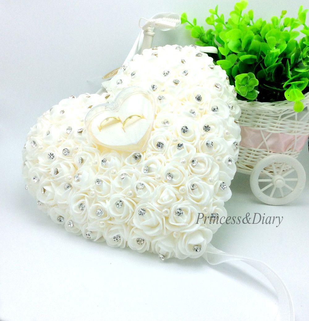 buy wedding favors hang ring pillow with transprent box heart design ...