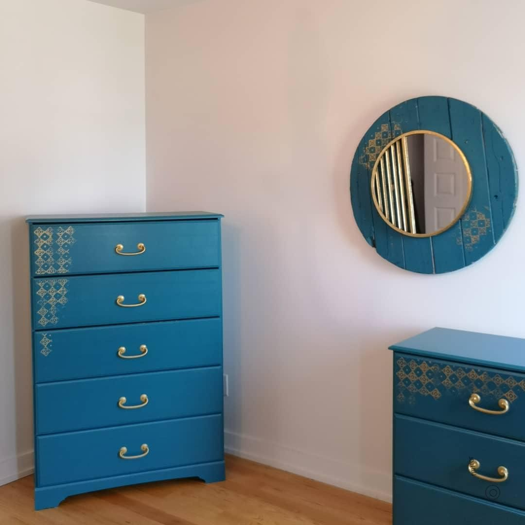 Renovation Reno Recup 2ndevie Secondevie Chambre Meuble Commode Miroir 2ndevie Bleu Chambre Commode Meubl Cozy Living Rooms Tiny Spaces Room
