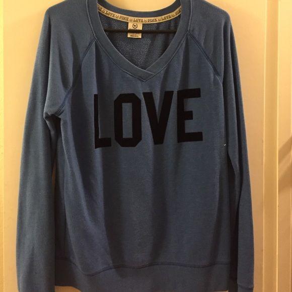 Victoria secret pink sweatshirt V-neck blue vs sweatshirt PINK Victoria's Secret Sweaters V-Necks