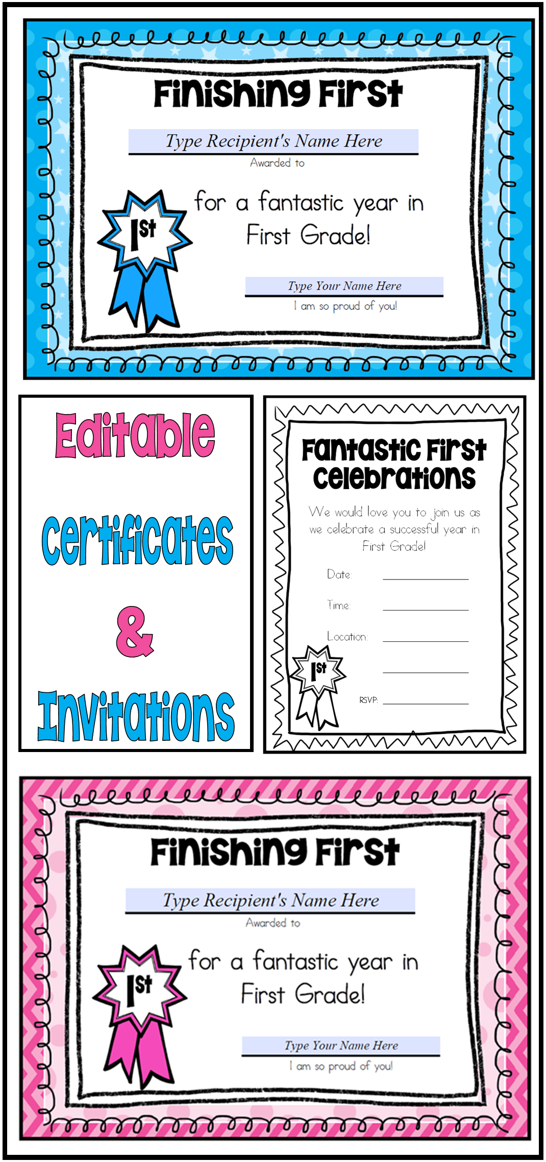 End Of Year First Grade Certificates Editable