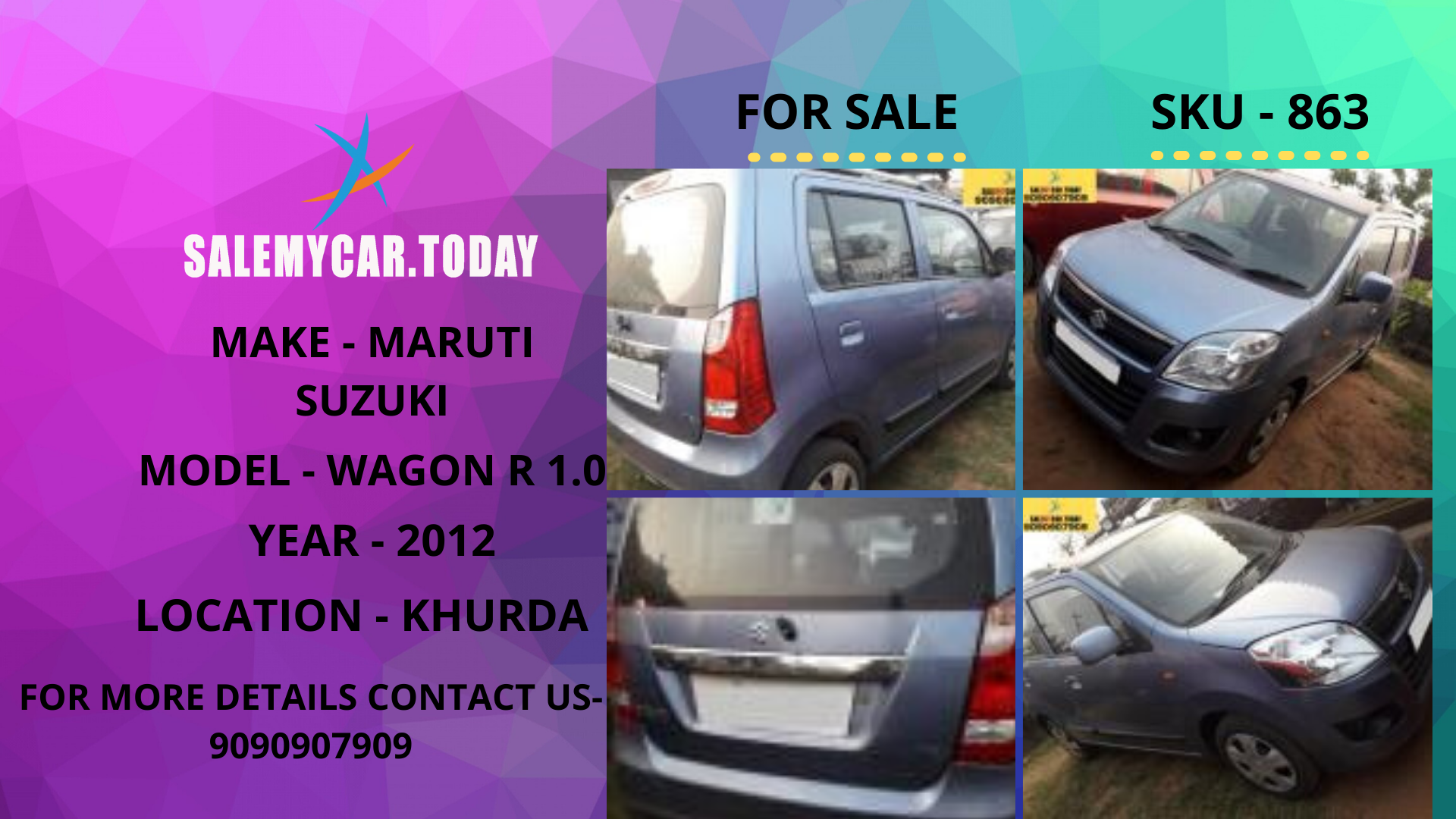 USED MARUTI SUZUKI WAGON R 1.0 OF 2012 FOR SALE IN KHURDA