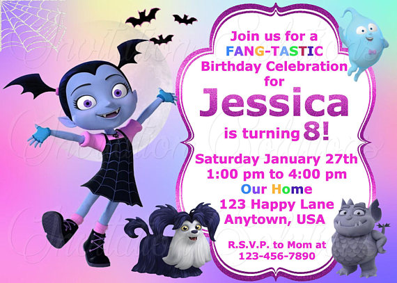 Vampirina Birthday Party Invitation Disney Themed