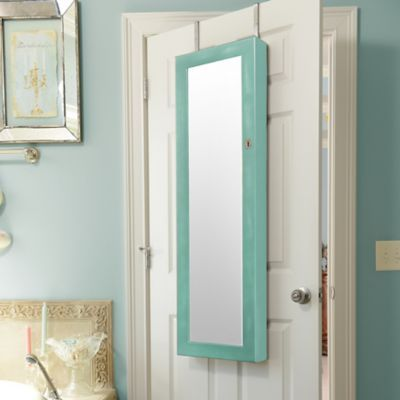 Distressed Turquoise Jewelry Armoire Mirror | Turquoise ...