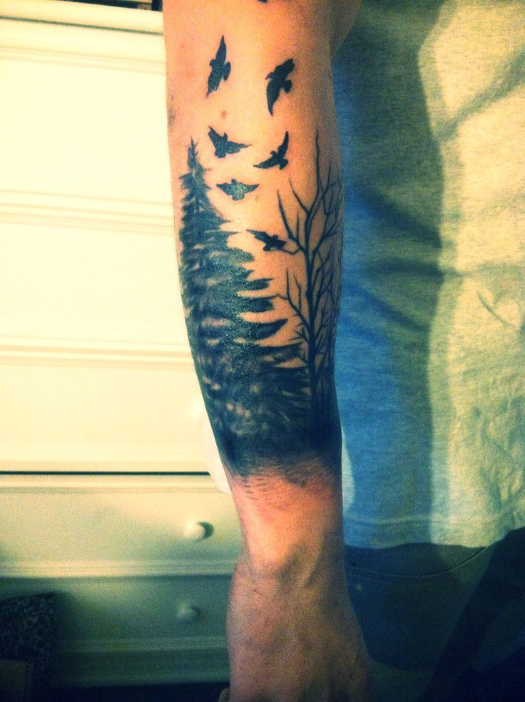 Cool Wrap Around Scene Tattoos For Guys Forearm Tattoos Mens Forearm Tattoos Tree