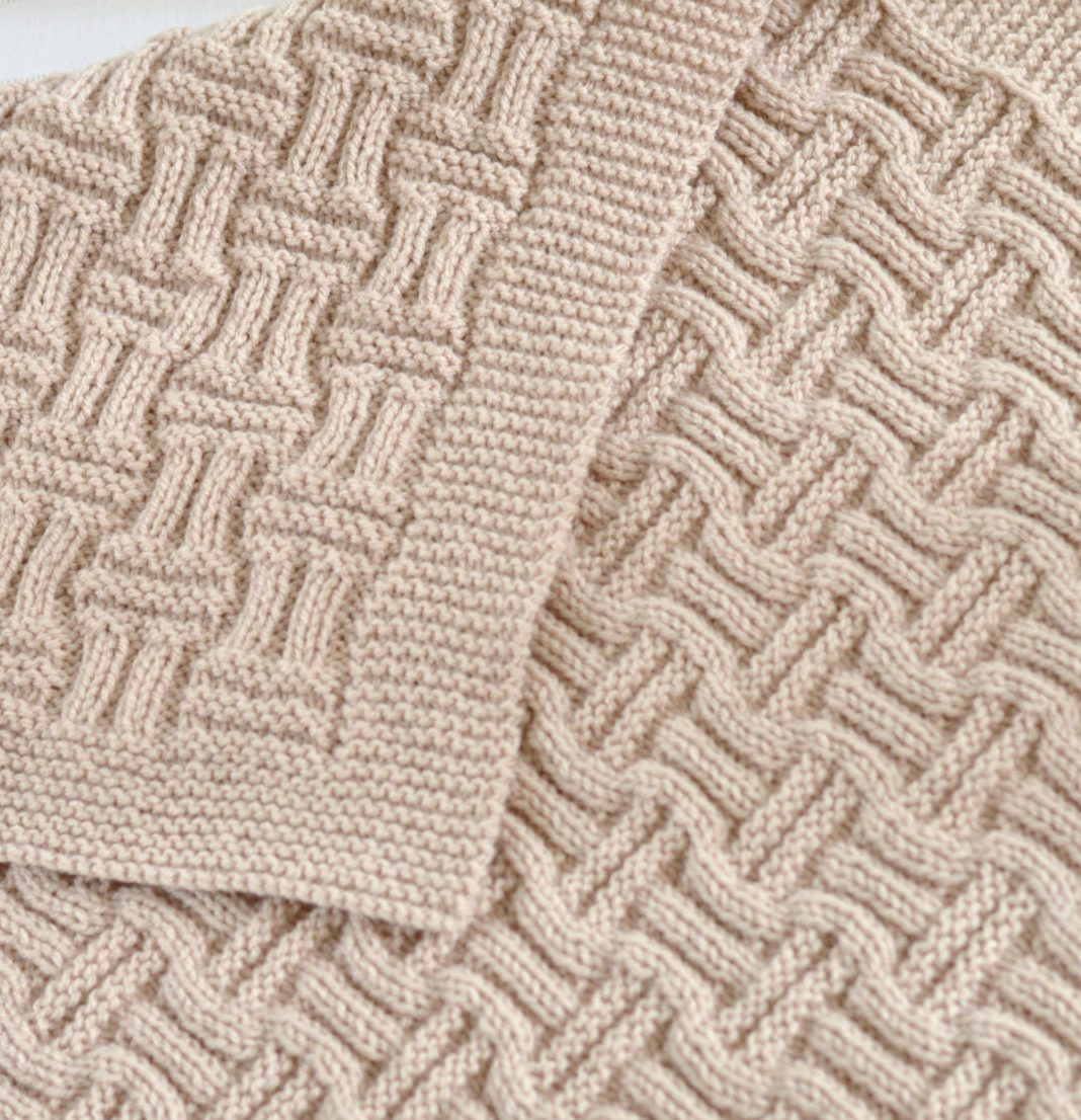 Knitting Pattern Baby Blanket Reversible Basketweave Blanket ...