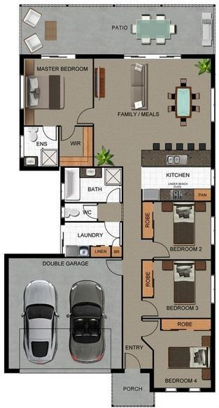 Plano de casa con garaje y 4 dormitorios planos de casa for Planos de casas sims
