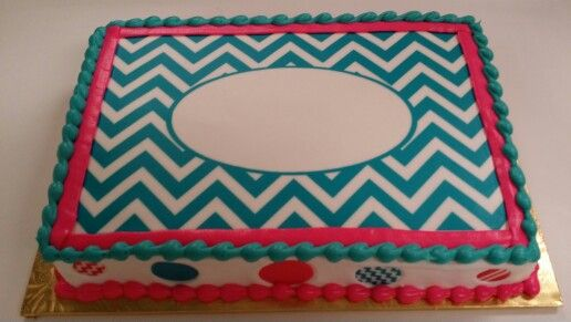 Pink And Teal Simple Chevron Monogram Quarter Sheet Chevron - Monogram birthday cakes