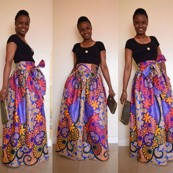 African Print skirt - Ubani maxi skirt with bow tie/ sash. African ...