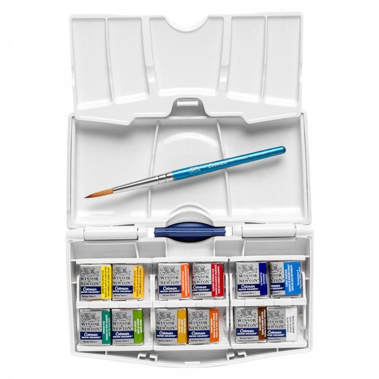 Winsor Newton Cotman Pocket Plus Box Set 12 Half Pans Art
