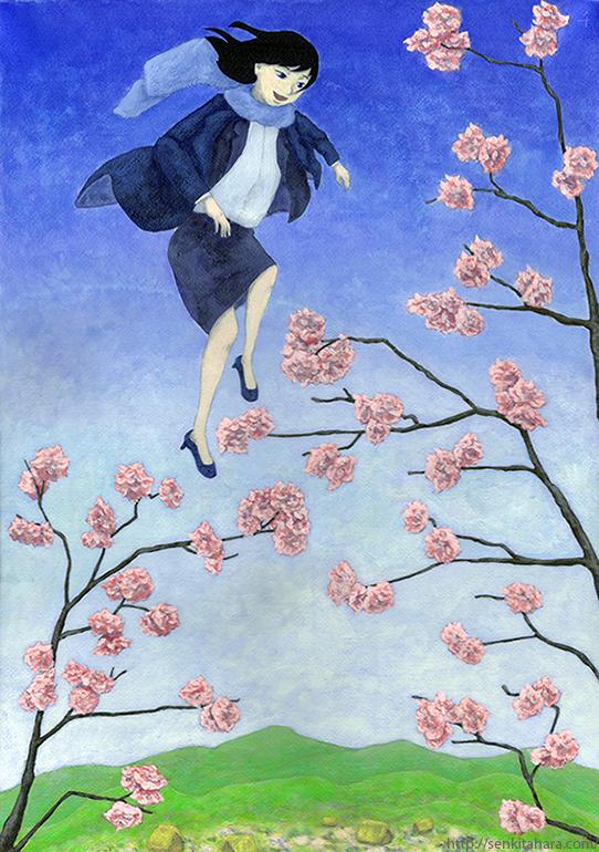"""『春に降りたつ』北原 千 """"Coming down to the spring"""" By Sen Kitahara, アクリル, art, acrylic"""