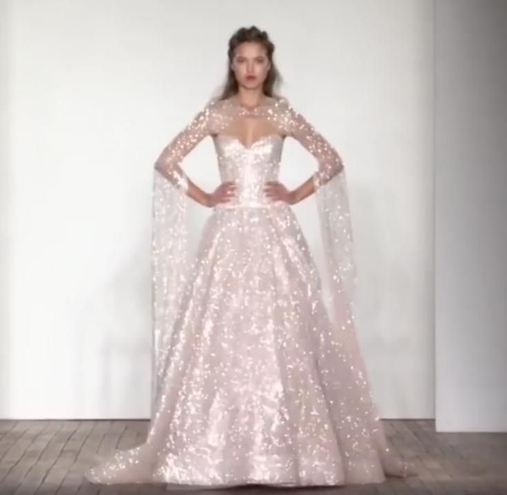 Wedding Dress Glitter Lazaro Spring 2018 Collection Glitter