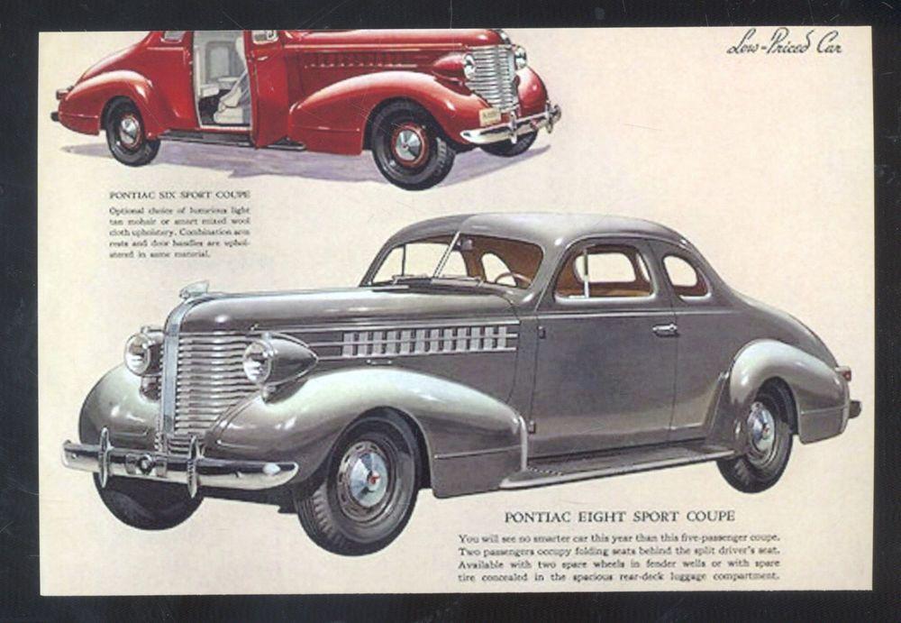 1938 Pontiac Car Dealer Advertising Postcard Copy 38 Cars
