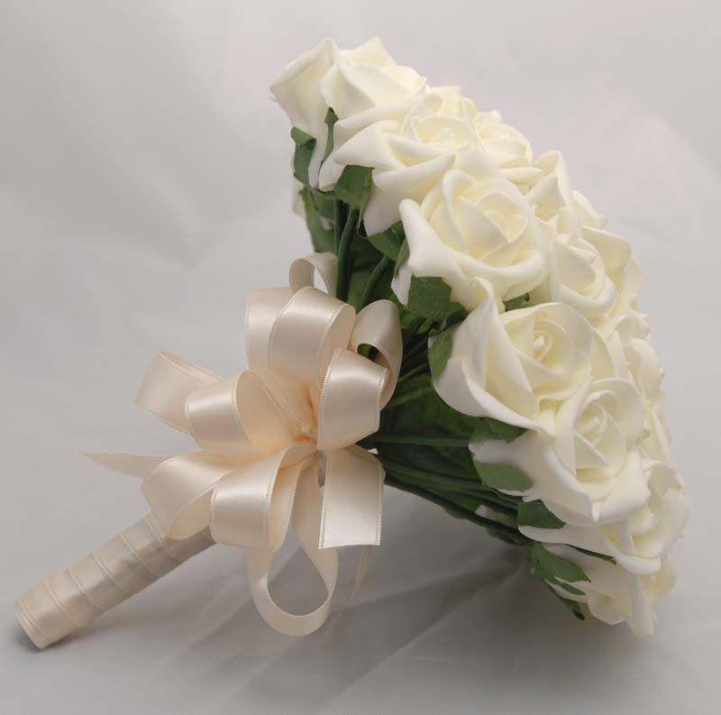 Brides Wedding Flowers In Just Ivory Foam Roses
