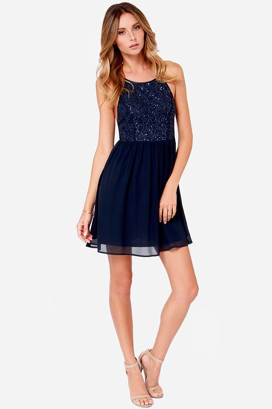 Port Royal Navy Blue Sequin Dress | Blue sequin dress and Royal navy