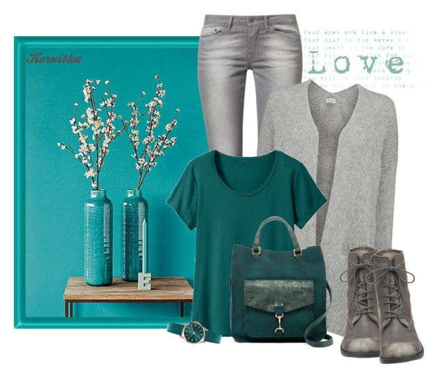 """""""nr 794 / Teal & Grey"""" by kornitka ❤ liked on Polyvore featuring Brewster Home Fashions, Levi's, American Vintage, TravelSmith, Steve Madden, Henry London and Nine West"""