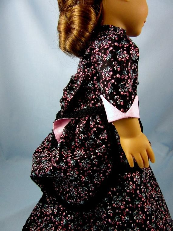 Doll clothes 18inch - 1870s Bustle Dress - 2 Piece - 18 Inch Doll Clothes - Fits American Girl - Black Floral Print - Historic Doll Clothing #historicaldollclothes