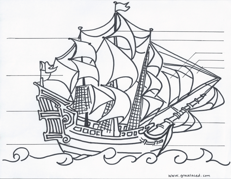 Anatomy of A Pirate Ship.pdf Coloring sheets, Coloring