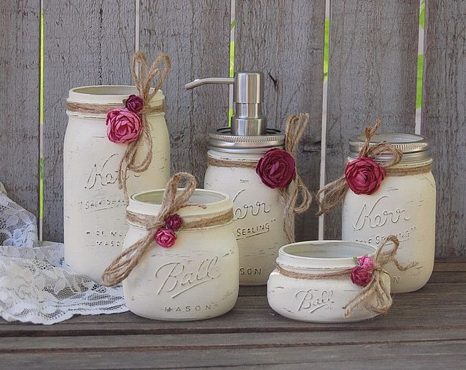 Mason Jar Bathroom Set, Ivory, Orchid, Rose, Shabby Chic, Soap