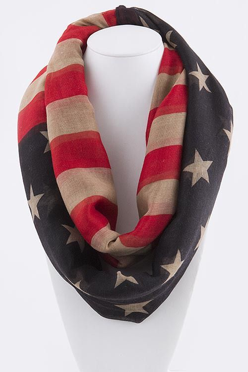 Vintage American Flag Infinity Scarf - Patriotic By Design Boutique