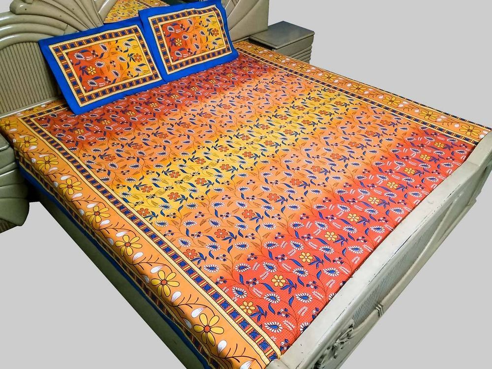 Double Bed Sheet 100% Cotton Printed with Pillow Cover Multicolor
