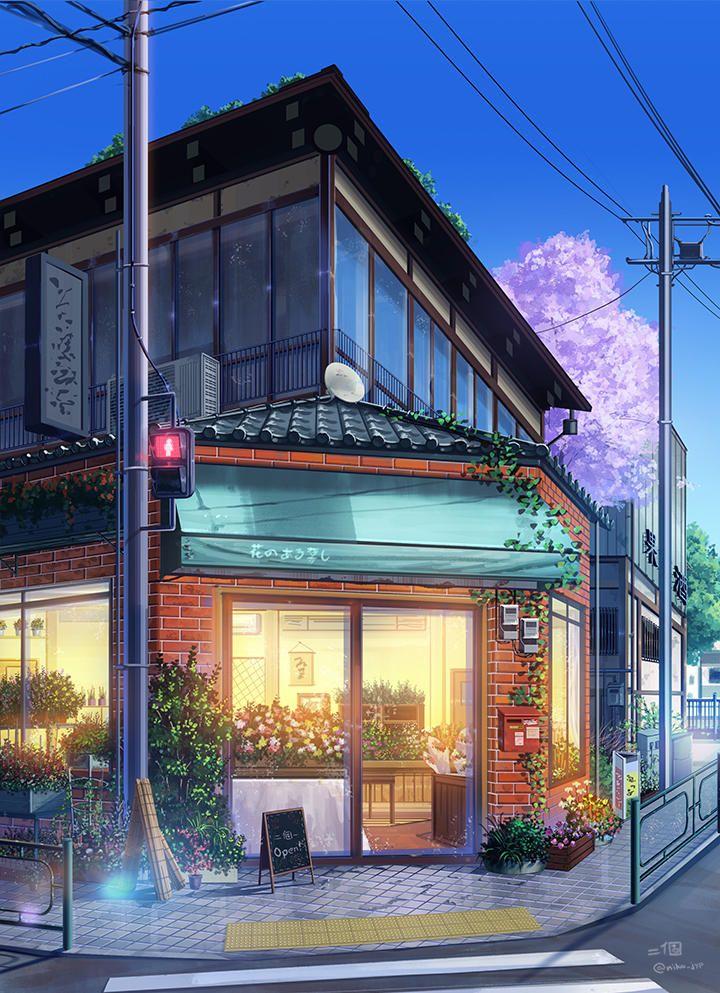 Coffee shop pjynico Anime landschaft, Bilder, Architektur