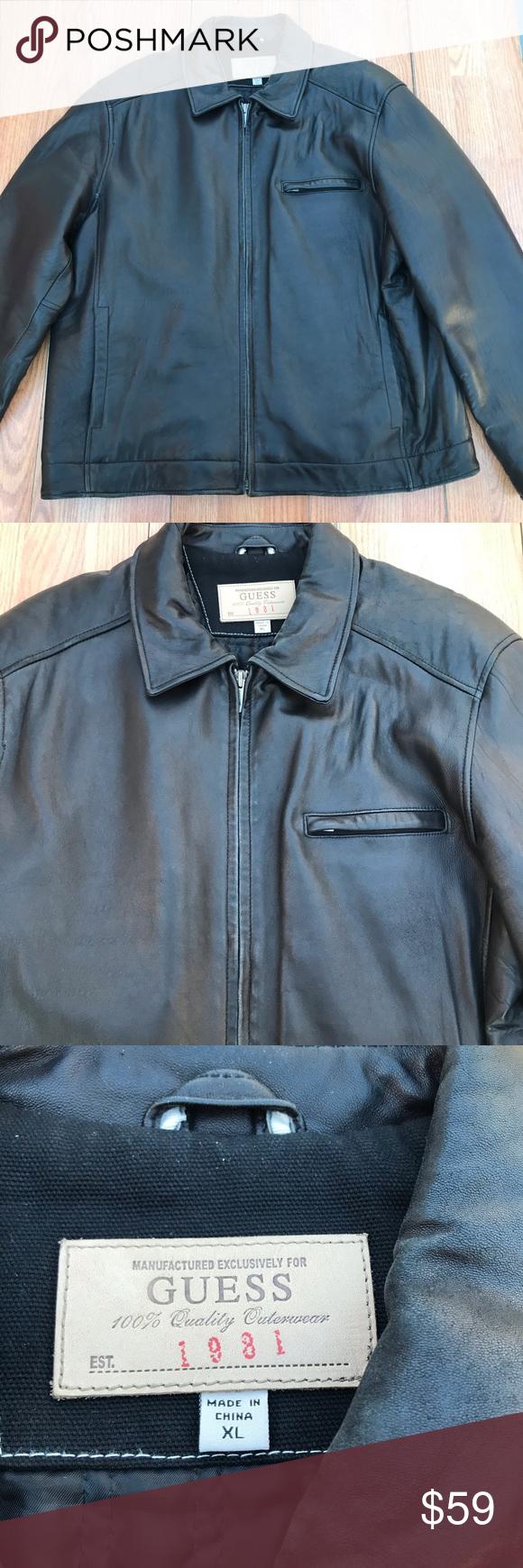 Genuine Leather Guess Jacket Mens Xl Mens Jackets Mens Xl Mens Winter Coat [ 1740 x 580 Pixel ]