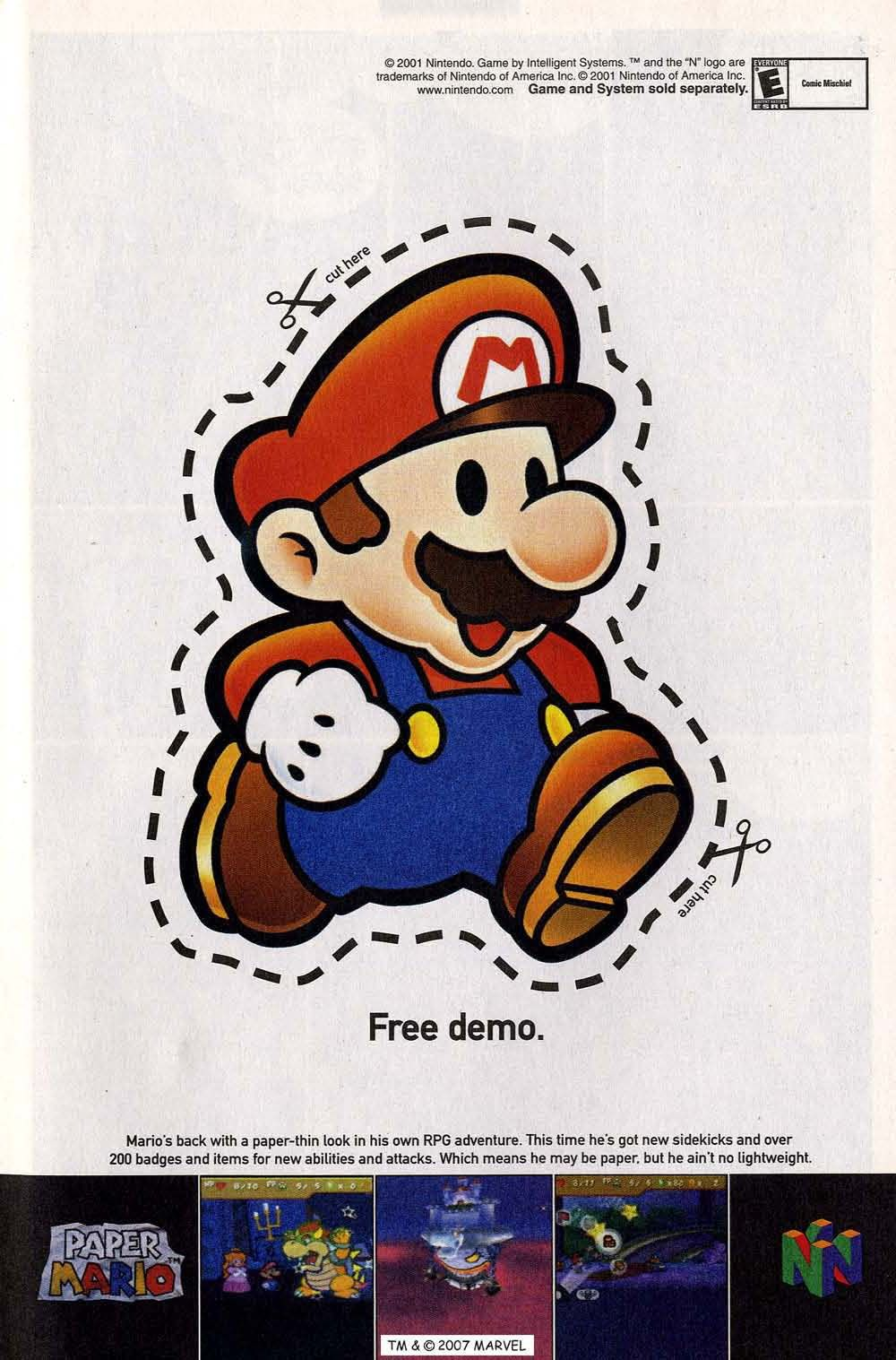 Ingenious ad for Paper Mario (Nintendo 64) in the days