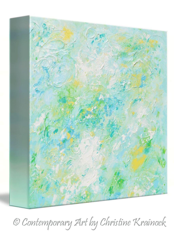 Giclee print soft aqua blue abstract painting light blue modern