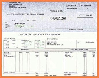 free check stub template
