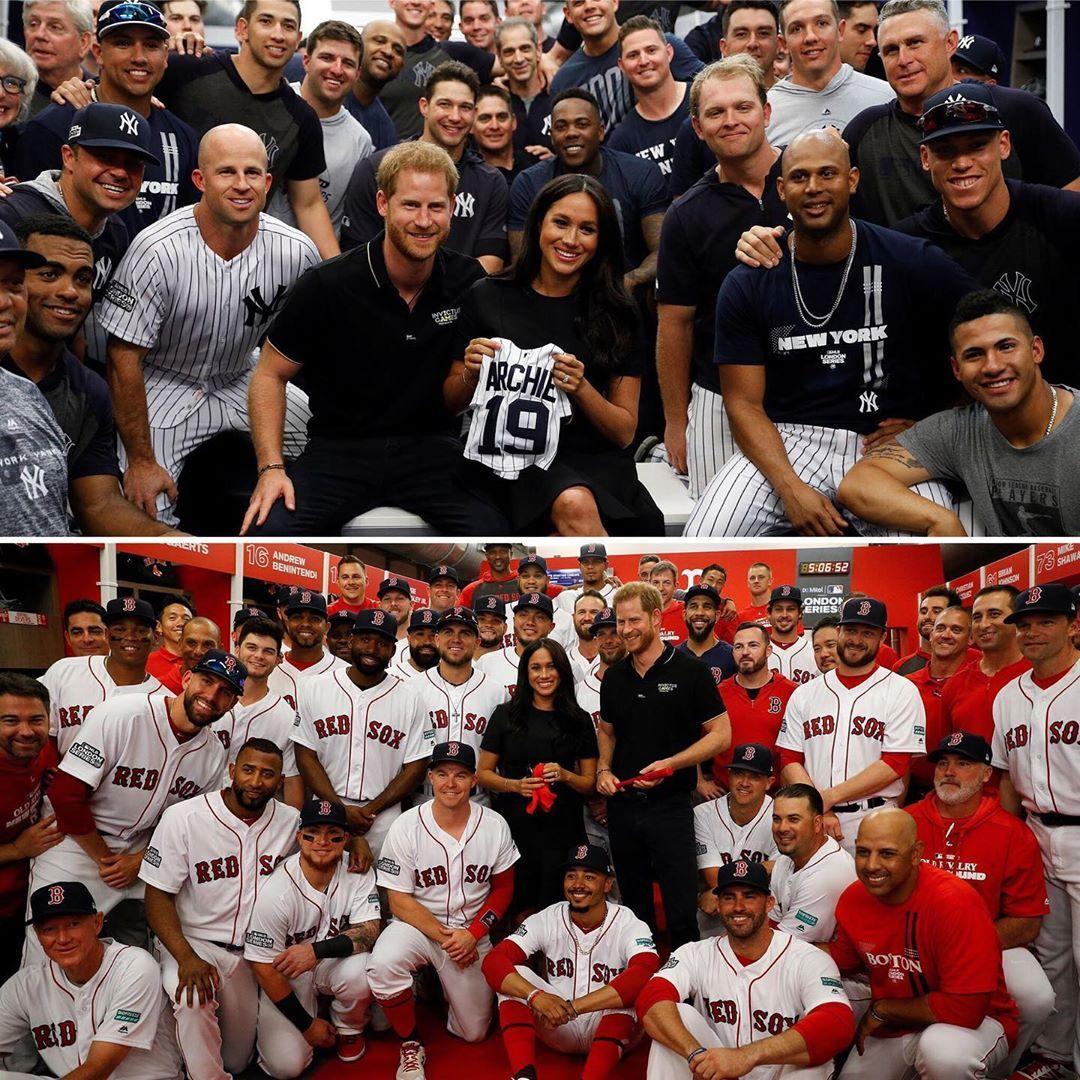 The Duchess Of Sussex Joined The Duke Of Sussex Today At The London Series Red Sox Vs Yankees Game At London Stadium In Support Of Weare Red Sox Duchess Duke