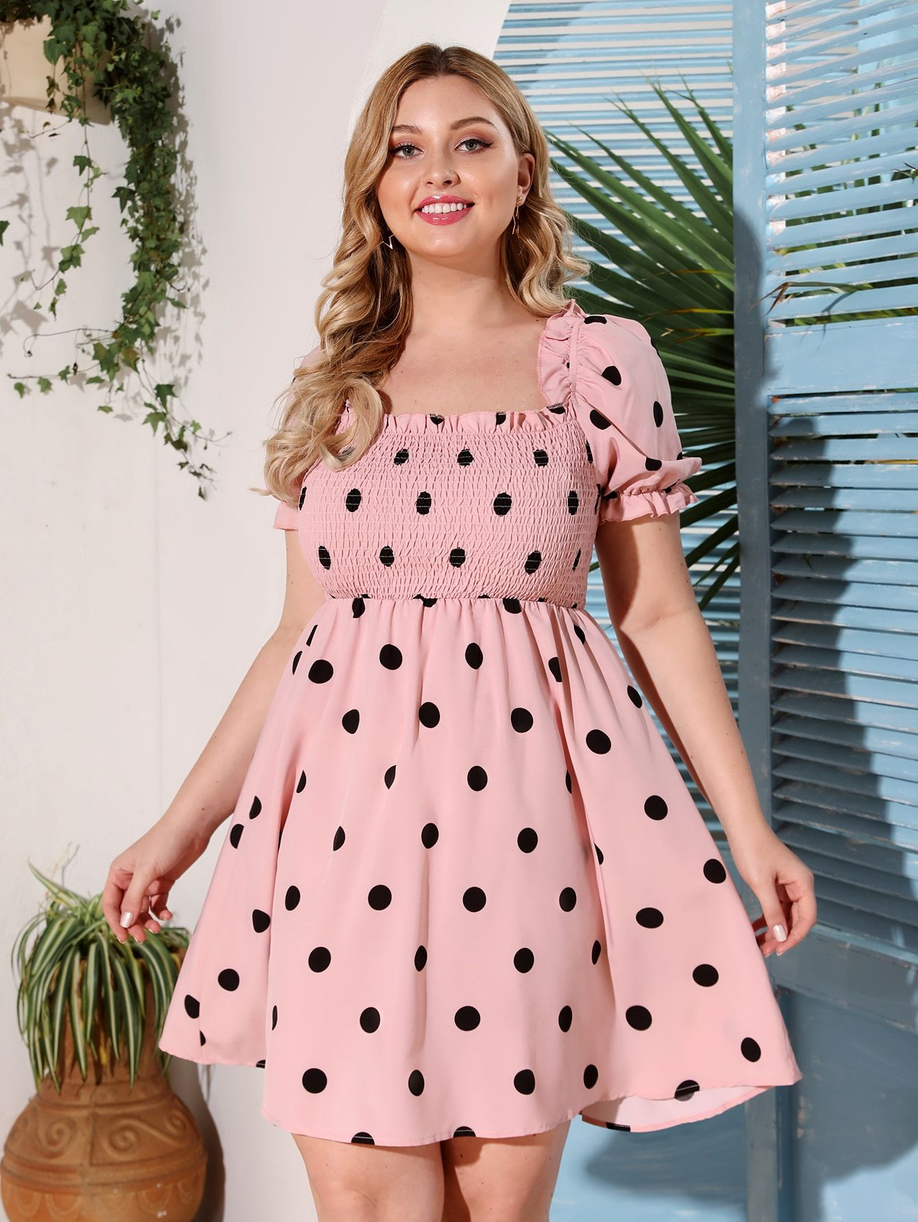 Plus Polka Dot Shirred Chiffon Milkmaid Dress Shein Usa Short Summer Dresses Summer Dresses Curvy Spotted Dress [ 1785 x 1340 Pixel ]