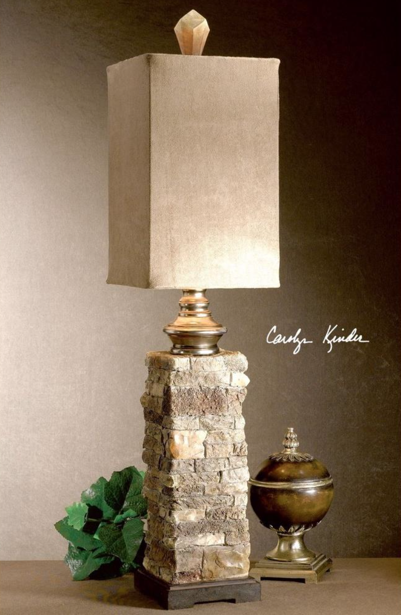 This striking lamp has the look of layered stone in varying