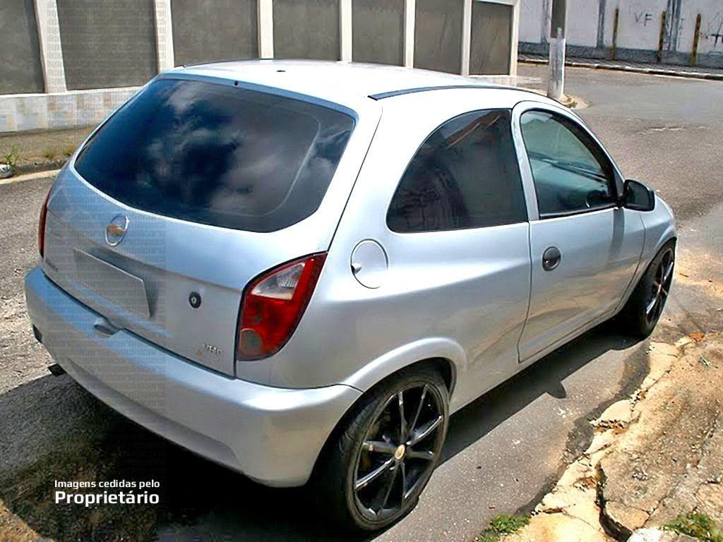 Foto Chevrolet Celta Prata Rebaixado Rodas Aro  Vaska Vk Pretas