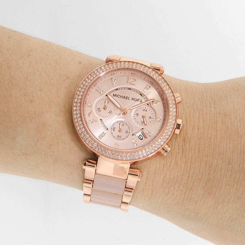 bd4a524ea393 100% New Michael Kors MK5896 Parker Rose Gold-Tone Blush Acetate Women Watch  (#253520516564) for $105.00