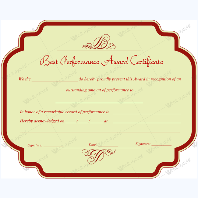 Microsoft Word Best Performance Certificate Template performance – Performance Certificate Template