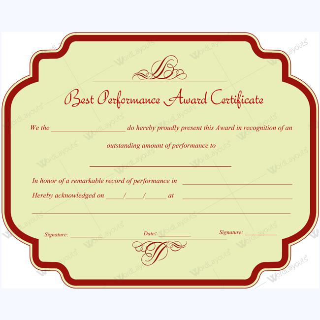 Microsoft Word Best Performance Certificate Template performance – Performance Certificate Template