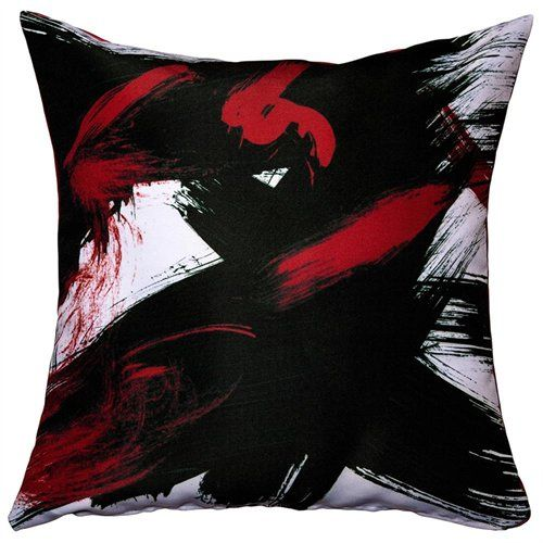 Red And Black Throw Pillows With Brush Stroke Print Throw Pillows Stylish Throw Pillows Black Throw Pillows