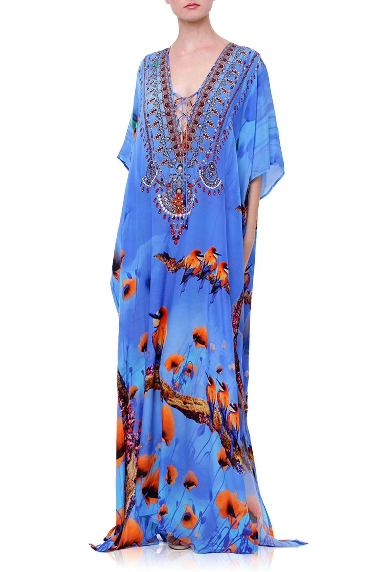 Blue Floral Bird Print Kaftan Dress Kaftan Dress Women Dress Collection Long Caftan Dress [ 1920 x 1280 Pixel ]