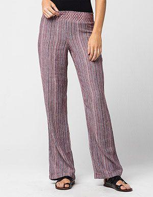 05cd474243d FULL TILT Striped Linen Womens Beach Pants Burgundy