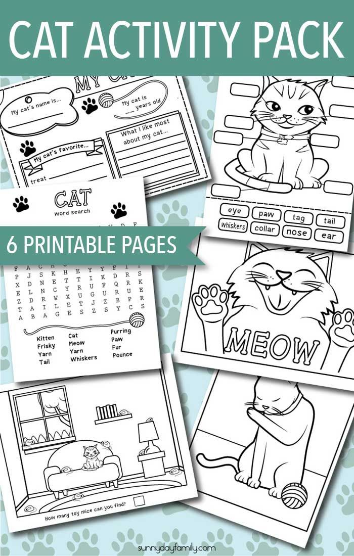 Printable Cat Activity Pack with Games, Coloring Pages and More ...