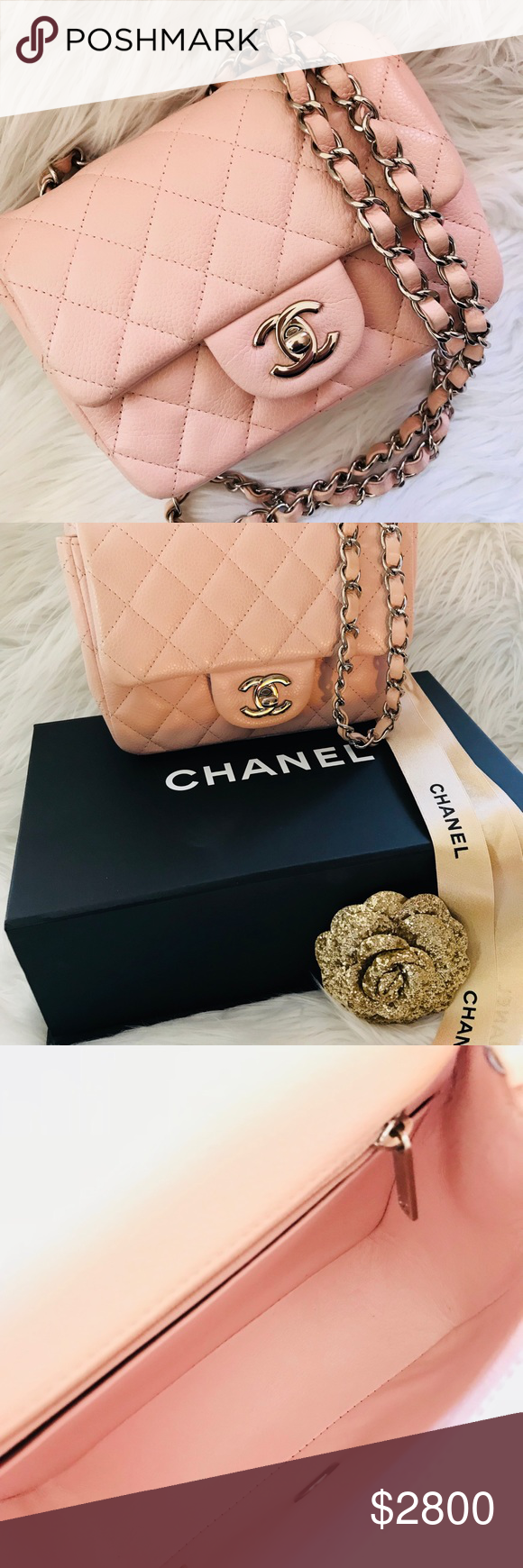 babdce21bdd1 Chanel mini classic flap bag caviar nude pink SHW 100% authentic..in  beautiful condition no any major flaws..on the bottom near to the corner  small part of ...