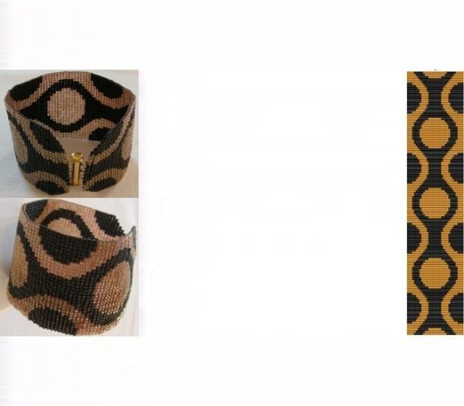(5) Name: 'Jewelry : 60s Retro Gold Cuff Bracelet Loom Bead