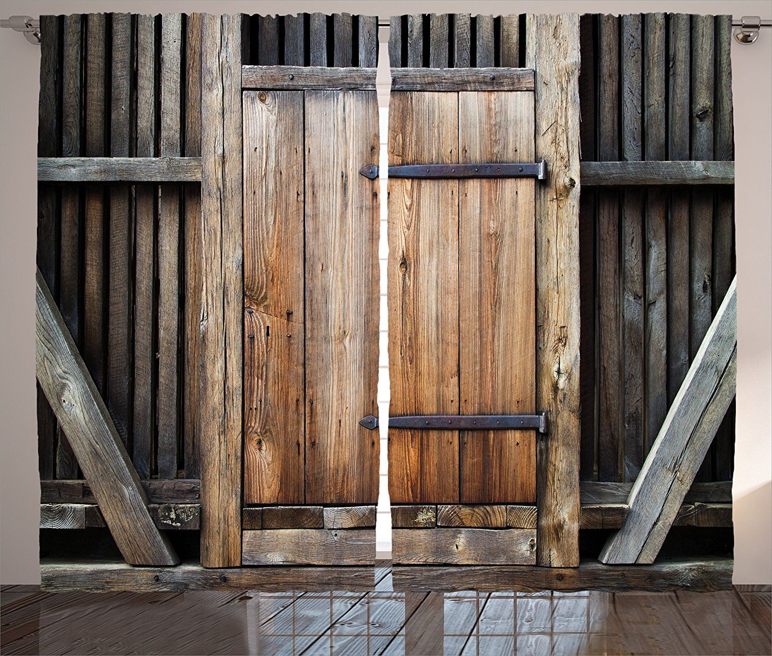 Antique Decor Curtains By Ambesonne Rustic Antique Wooden Door Exterior Facades Rural Barn Timber Weat Primitive Bathrooms Wooden Doors Fabric Shower Curtains