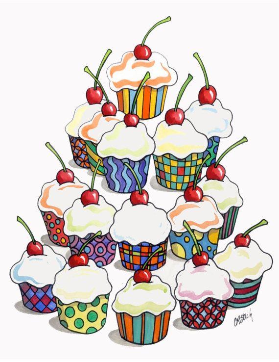 Yum Cupcakes by Carolyn Stich is a by carolynstichstudio on Etsy, $15.00
