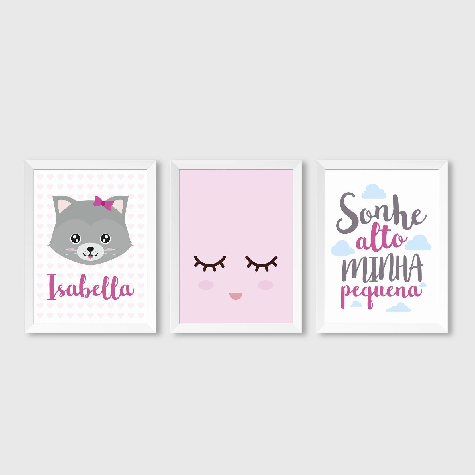 Quadro Infantil Gatinha E Sonhe Alto Minha Pequena Quadro  ~ Como Fazer Quadros Decorativos Para Quarto De Bebe