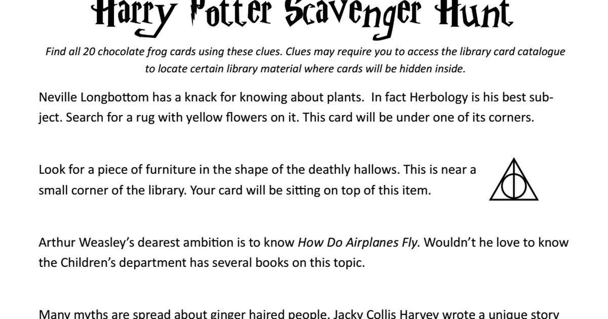 Teen Library Program Harry Potter Scavenger Hunt.pdf ...